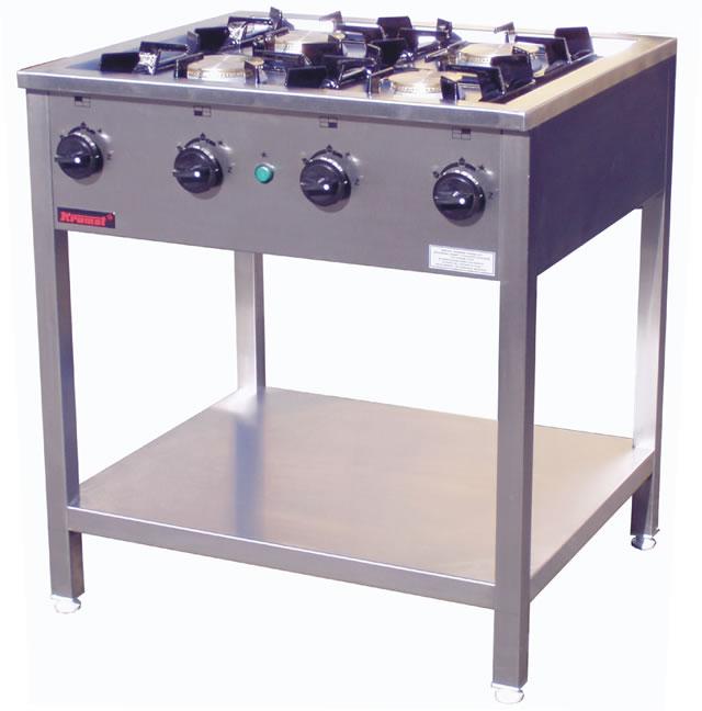 Kuchnia gazowa 4 palnikowa na podstawie z półką 000 KG 4M   -> Kuchnia Gazowa Kromet Cześci