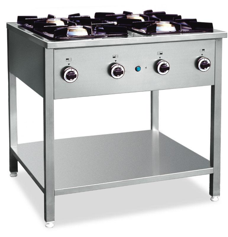 Kuchnia gazowa 4 palnikowa na podstawie z półką 000 KG 4L   -> Kuchnia Gazowa Kromet Cześci