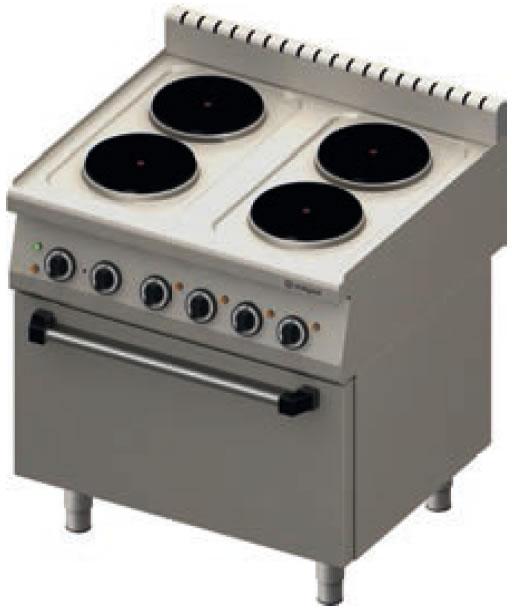 Kuchnia elektryczna 4 płytowa z piekarnikiem elektrycznym 971500 • STALGAST •   -> Kuchnia Elektryczna Z Piekarnikiem Elektrycznym