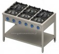 Kuchnia gazowa 6 palnikowa na podstawie z półką 979613