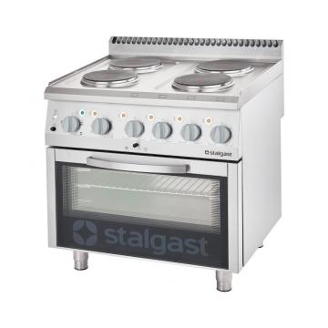 Kuchnia elektryczna 4 palnikowa wym. 800x700x850 z piekarnikiem elektrycznym 10,4+7 kW (3 systemy grzania) model 9715000 firmy Stalgast