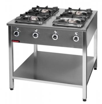 Kuchnia gazowa 4 palnikowa na podstawie z półką model 000.KG-4L firmy Kromet