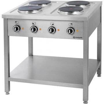 Kuchnia elektryczna 4 płytowa na podstawie z półką model 979500 firmy Stalgast